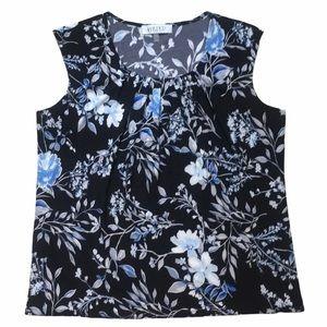 KASPER Sleeveless Pleated Neck Blue Floral…